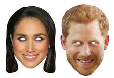 Meghan Markle and Prince Harry Royal 2D Card Party Face Masks - 2 Pack