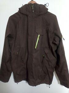 Mens Salomon Brown Snowboarding Hooded Jacket Size L Large