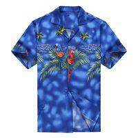 Made in Hawaii Men Hawaiian Aloha Shirt Luau Cruise Party Parrots Palm Blue