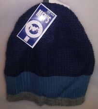 WINTER CLASSIC MENS KNIT HAT 1 DK BLUE W/LT BLUE & GRAY STRIPES A-23