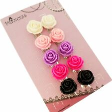 Big Size 19mm Color Rose Flower Design Fashion Clip-on Earrings, Pack of 5 Pairs