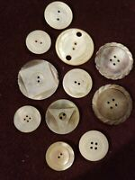 Assortment of 11 Mother Of Pearl Buttons Vintage Antique