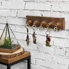 MyGift Dark Brown Wood Wall Mounted Key Rack with 5 Detachable Carabiner Hooks