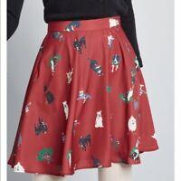 Modcloth Christmas cat and dog women's skirt SMALL