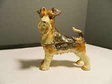New Listing Airedale Terrier Dog Bejeweled Trinket Box Figurine Magnetic Close