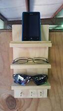 Eyeglass Sunglass Cell Phone Keys Rack Storage Shelf Wood Hang Display Wooden
