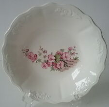 Chatham Pattern Pink Hollyhock on Fence Cereal Bowl Embossed CC Thompson 1930's