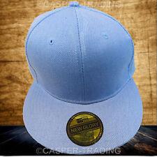 Snapback Baseball Plain Cap Funky Hip Hop SP Retro Classic Vintage Flat Hat Lot Light Blue 1x