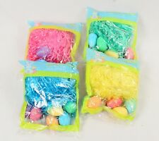 4 Packs Easter Grass with 6 Mini Sparkle Eggs in Each Package