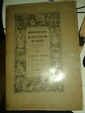Bibliothèque de feu M. Hector de Backer. 1ère partie. 3e vente. 1926.