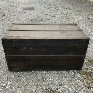 Antique Steamer Trunk Wood Pirate Treasure Chest