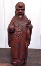 "11"" Hand carved Confucius Statue Antique Chinese Walnut wood - Rare Find"