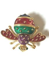 Signed JOAN RIVERS multi colored enameled bumble bee  watch pin brooch new