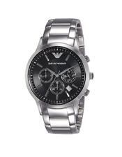 New Emporio Armani Classic Silver Black Chronograph Dial AR2434 Men's Watch