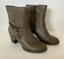 G.H. Bass & Co Women US 8M Brown Faux Leather Ankle Boots Heel