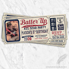 Baseball Ticket Birthday Party Invitations / Printed Set of 10 Bat Ball