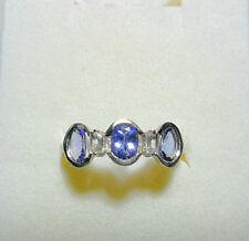 925 St Silver ring, Tanzanite + White Topaz, size 'N'