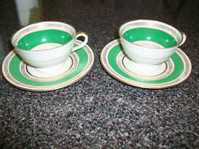 Set of 2 Coronado H & C Czechoslavakia Cups and Saucers Green and Gold Schlaggen