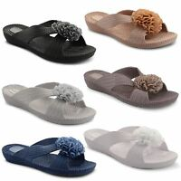 Womens Ladies Flower Mules Flat Summer Sandals Flip Flops Beach Jelly Shoes Size