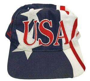 Vintage Atlanta 1996 Olympics USA Flag All Over Print Trucker Snapback Cap Hat