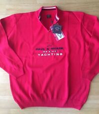 NEW Paul & Shark Yachting Sweater Girocollo Shirt Pullover Cotton 2XL XXL RED