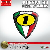 Adesivi Stickers 3D Scudetto 1 AGO MV YAMAHA HONDA ITALIA BANDIERA MOTO CASCO