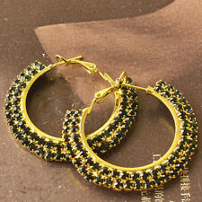 Around Green Cubic Zirconia 9K Yellow Gold Filled Womens Hoop Earrings F6163