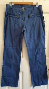 Ladies size 14 Blue Straight Leg Frayed Stretch Pants - Colour Code