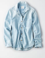 NWT American Eagle Classic Denim Blue Boyfriend Fit Light Wash Shirt Small S