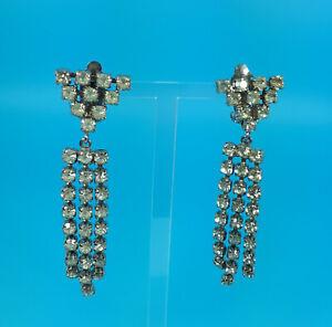Vintage 1950s Rhinestone Diamante clip-on drop earrings Baguette white metal