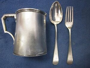 ANTIQUE BAILEY & CO.STERLING SILVER CHILD'S CUP, FORK and SPOON SET.. DATED 1859