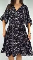 CITY CHIC Pink Black Polka Dot Print Bell Sleeve Belted Dress Plus Size M AU 18