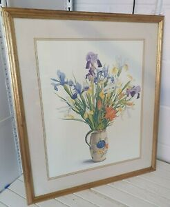 Christopher Ryland 'Irises & Lilies in a Dutch Jug' 66 x 77 cm gilt frame I4P127