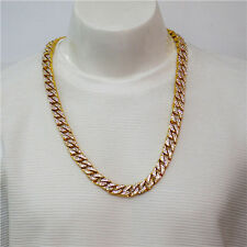 Gold Lab Diamond Cuban Chain Link Micropave Rose Iced Out Men Necklace KP