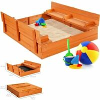 Toddler Kids Wooden Outdoor Backyard Sandbox w/ 2 Foldable Bench Seats and Cover
