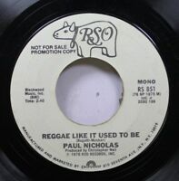 Rock Promo 45 Paul Nicholas - Reggae Like It Used To Be / Reggae Like It Used To