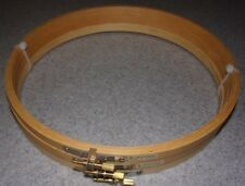 "3 Round 10"" Wooden Craft Hoops With Screw Closures Emb. Cross Stitch"