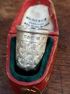 Vintage Hallmarked Silver Thimble In Vintage Jewelry Box