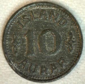 1942 Iceland 10 Aurar Coin Zinc Extra Fine Christian X