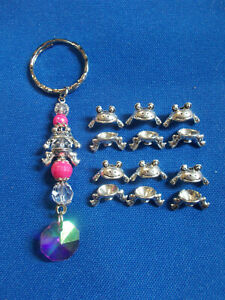 CUTE TIBETAN SILVER FROG SPACER BEADS x 10 SETS ( 20 ) SEE PIC ON KEY RING # 261