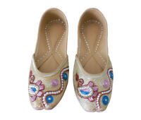 Women Shoes Indian Handmade Jutties Leather Flat Ballerinas Gold UK 4.5 EU 37.5