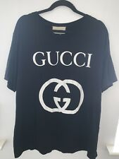 AUTHENTIC STYLISH GUCCI LOGO T SHIRT TOP BLACK WHITE  SIZE X LARGE