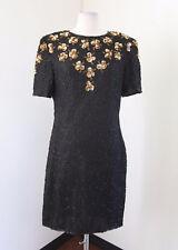 Vtg Black Gold Silk Beaded Sequin Floral Cocktail Party Dress Sz L Evening Retro