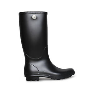 UGG SHELBY MATTE BLACK RUBBER SHEARLING TALL RAINBOOTS WOMEN'S SIZE US 9 NEW