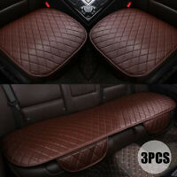 3PCS Car Seat Cover Set Universal Leather Protector Front Rear Cushion Coffee ~