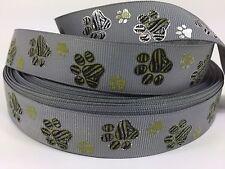 "BTY 7/8"" Gray Textured Gold Paw Prints Grosgrain Ribbon Collars Lisa"