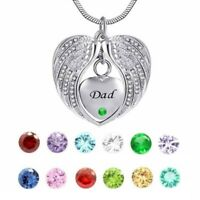Angel Wing Birthstone Cremation Urn crystal Necklace Stainless Steel Jewelry Czx