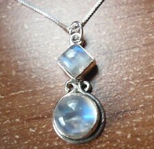 Moonstone Two-Gem 925 Sterling Silver Necklace Corona Sun Jewelry