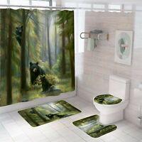 Bear Shower Curtain Set Bathroom Rug Thick Non-Slip Toilet Lid Cover Bath Mat