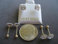 CHILD SCREW BACK EARRINGS 6MM CUBIC ZIRCONIA STONE WITH BALL STUD IN 14K Y GOLD